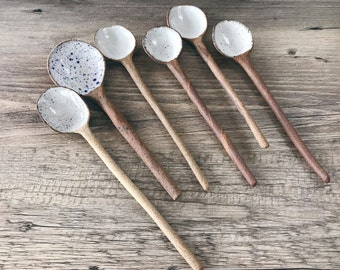 Ceramic Stoneware Spoons, Handmade, ready to ship.