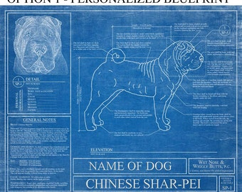 Personalized Chinese Shar-Pei Blueprint / Chinese Shar-Pei Art / Chinese Shar-Pei Wall Art /  Chinese Shar-Pei Gift
