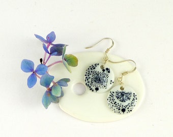Porcelain Earrings,Porcelain Jewelry,Ceramic Jewelry,Boucles d'oreille en Porcelaine,Black ,Graphic Dangle Earrings