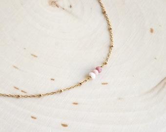 Pink Opal Mini Bar Necklace