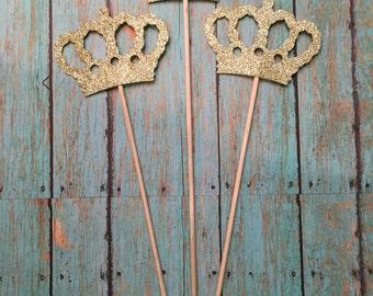 Crown Centerpiece Picks, Glitter Crowns on a Stick, Prince Crowns, King Crowns, Centerpiece Sticks, Glitter Crown Centerpiece (Set of 3)