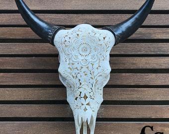 Real Carved Cow Skull Head, Mandala Design, Bull Skull, Steer Skull, Animal Skull, Cow Skull Bones, Skull Art, Bone Art, Skull Decor, White