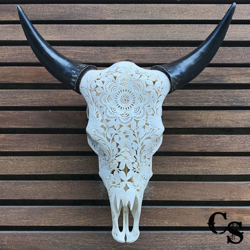 Bull Skull Wall Decor real carved cow skull head mandala design bull skull steer