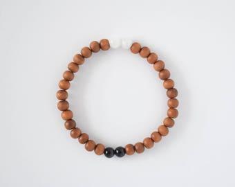 Harmony Mala Bracelet - Locally Handmade - Authentic Gemstones (Meditation Bracelet, Yoga Jewelry, Sandalwood Mala, Meditation Mala)