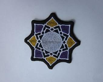 Lotus Flower purple &  yellow Patch Lotus Flower Patch Iron/sew on Badge