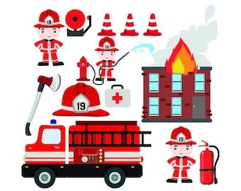 Fire truck clipart | Etsy | {Französische küche clipart 82}