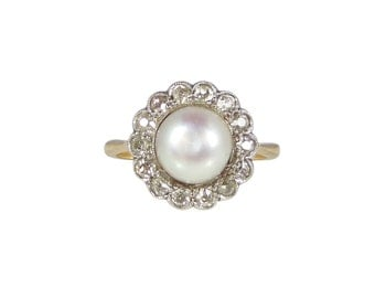 Edwardian Pearl Diamond Ring, In 18ct Gold, Antique Pearl Ring, Antique Pearl Engagement Ring, Antique Cluster Ring, Antique Rings