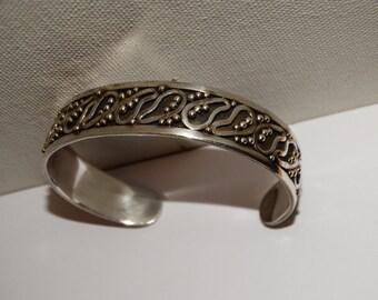 Sterling Silver 925 Stamped Oxidized Cuff Bracelet.