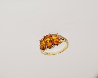Vge 10k Yellow Gold Size 5 1/4 Genuine Triple Citrine Stone Ring.