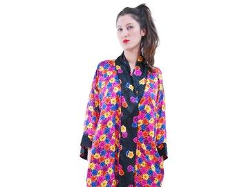 Womens robe.Pajamas.robe.Vintage robe.Mix Color Flower Print Vintage Robe For Women 1980s.Vintage dress.Robes.80's Robe.Vintage Pajamas