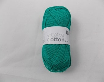 Cotton yarn emerald colour creative cotton aran crochet yarn Rico Design 69 g 85m (92 yards) needle size 4-5 EU (US 6-8) colour code 69
