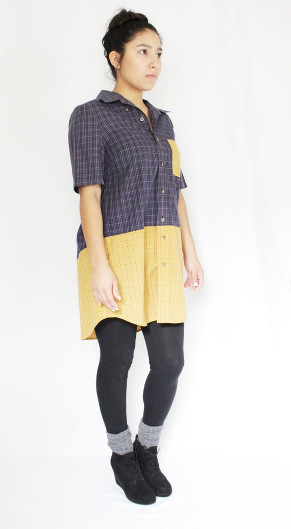 Upcycled Color Blocked Shirt Dress Button Down Navy and Mustard Short Sleeve Dress Menswear Inspired Dress with Pocket Eco Conscious Fashion