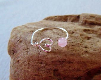 Sterling Silver Rose Quartz Ring, Silver Heart Ring, Rose Quartz Ring Heart Ring, Minimalist Ring, Boho Jewelry, Gemstone Ring, Gift for Her