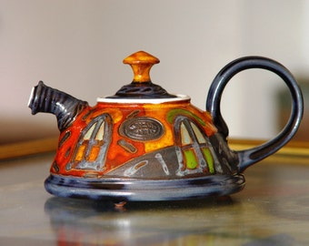 Cute Pottery Teapot, Ceramic Kettle for One. Colorful Pottery Gift, Artisan Teapot, Danko Handmade Pottery, Birthday Gift, Hostess Clay Gift