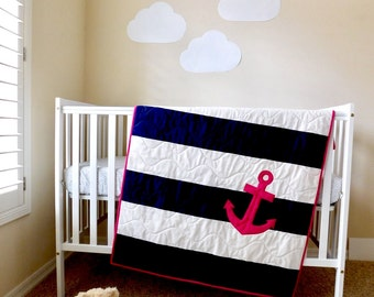 Nautical Baby girl Quilt, Nautical crib quilt,  Nautical nursery, Nautical baby bedding, blue and white strips with hot pink anchor.