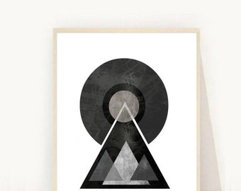Geometric Art Print, Mid Century Modern, Printable Wall Art, Scandinavian art,  Instant Download, Modern Wall Art, Geometric Art