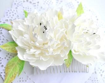 Wedding bridal peonies flower floral hair comb headpiece, peony wedding brides hair accessories, boho shebby chic wedding floral hair comb