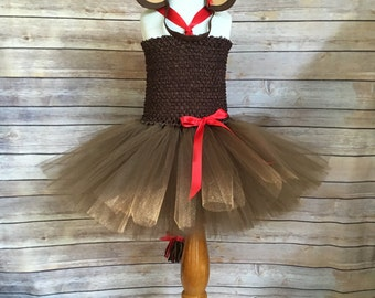 Monkey tutu dress - monkey tutu -  girls dress up costume - brown and red monkey dress - monkey birthday dress  - brown tutu -monkey costume