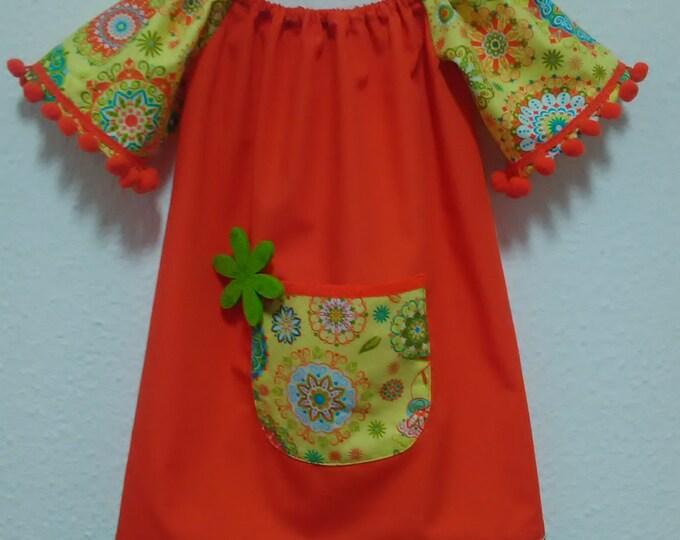 Orange dress, Children dress, orange dress, girl dress, Cotton dress, clothing, girls clothing, dresses
