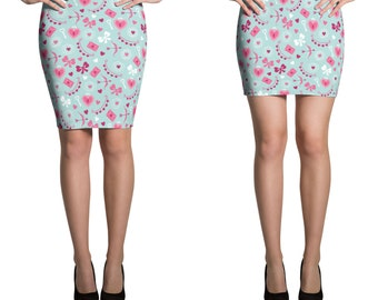 Fitted Skirt Pencil or Mini, Stretchy printed knee length or shorter miniskirt Valentines love lock blue hearts spring bodycon 13009