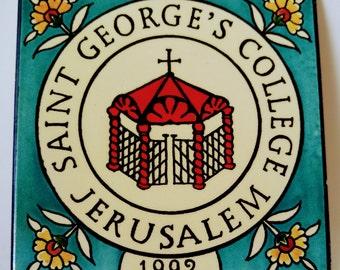 "Saint George's College - Jerusalem 1992, 6"" Stoneware turquoise tile"