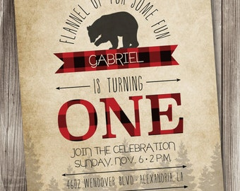 Lumberjack Party/Lumberjack Party Invitation/Lumberjack Invitation/Buffalo Plaid Invite/Red Plaid Invitation/Lumberjack 1st Birthday/#003