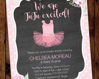 Pink Tutu Invitation/Pink Tutu Baby Shower/Tutu Baby Invitation/Tutu Baby Shower/Tutu Shower Invitation/Pink Tutu Invite #004