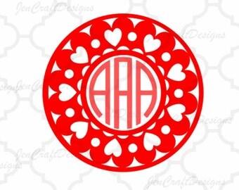 Valentine svg Heart Circle Monogram Frame svg Frame Cuttable SVG EPS   Png DXF, Cricut Design Space, Silhouette Studio, Digital Cut Files