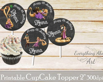 Tangled cake toppers, Rapunzel cake tags, Tangled birthday topper, Rapunzel cupcake tags, Birthday party toppers, Rapunzel Cupcake toppers