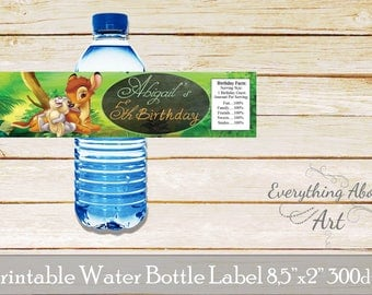 Bambi water bottle labels, Bambi  birthday, Bambi  party labels, Deer water bottle wraps, Deer birthday party labels, Printable labels