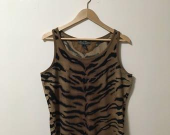 Vtg Ralph Lauren waffle knit Tiger print Tank