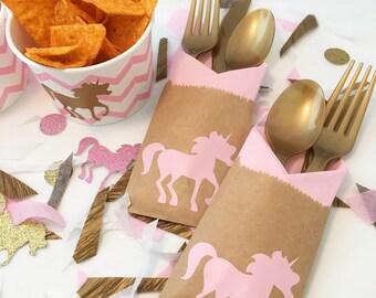 Cutlery Bags - Unicorn Party - Unicorn 1st Birthday - Princess Party - Unicorn Theme - Princess Party - Magical Birthday - Cutlery Holder