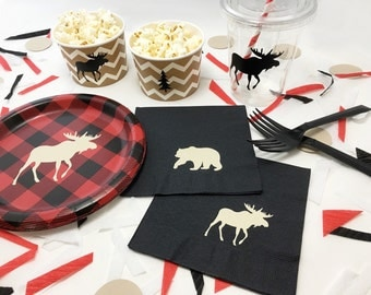 32-Set Lumberjack Baby Shower - Lumberjack First Birthday - Bear Baby Shower - Lumberjack Birthday - Party Plates - Buffalo Plaid - Moose