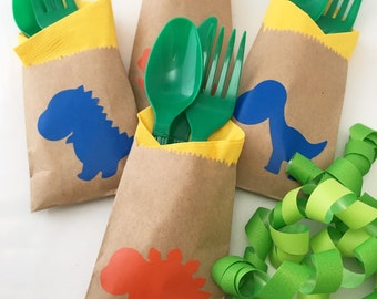 Cutlery Bags - Dinosaur Party - Dinosaur Baby Shower - First Birthday - Prehistoric Party - T Rex - Favor Bag - Treat Bag - Dino - Favors