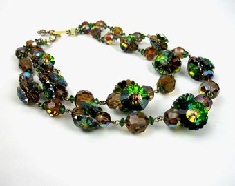Iridescent  2 Strand Choker Necklace, Green Brown Amber Plastic Bead 1960s