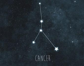 Cancer Nursery Art, Constellation Print, Astrology Kids Room Decor, Night Sky and Stars Art Print, Nursery Decor