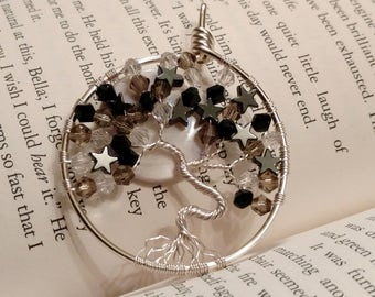 Starry Night Silver Wire Wrapped Tree of Life Full Moon Swarovski Crystal Pendant Necklace, Black White Gray Silver, Full Moon Jewelry, Tree