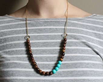 Beaded Robles Wood Necklace // Turquoise Accent