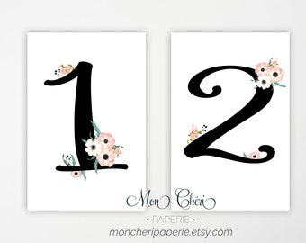 Floral Wedding Table Numbers, Romatic Floral Wedding Reception, Wedding Ceremony, Reception Table Numbers