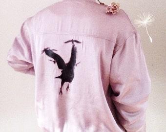 Glam-ish Pink Womens Bomber Jacket With Joyful Birds