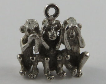 Three Wise Monkeys- Speak No Evil, Hear No Evil, See No Evil Sterling Silver Vintage Charm For Bracelet