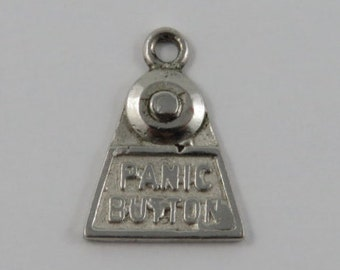 Panic Button Sterling Silver Vintage Charm For Bracelet