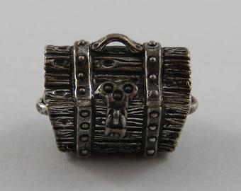 Treasure Chest Mechanical Sterling Silver Vintage Charm For Bracelet