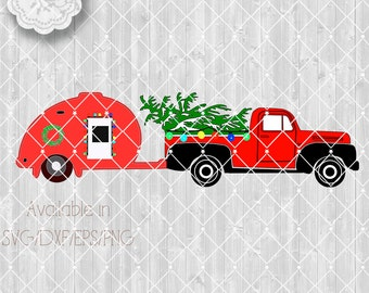 Red Truck, Tear Drop Trailer with Christmas Ford Pickup SVG File, Cut Files Old Pickup truck Vector Clipart  Available Svg,Dxf,Eps,Png