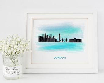 London print - London skyline print - london art - skyline prints - london decor - city prints - city skyline - London poster