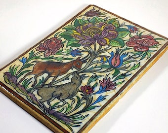 RESERVED FOR ROB Antique Vintage Large Ceramic Persian Tile, Hand Painted Middle Eastern Tile, Tile with Flowers and Goat, Boho Hippie Style