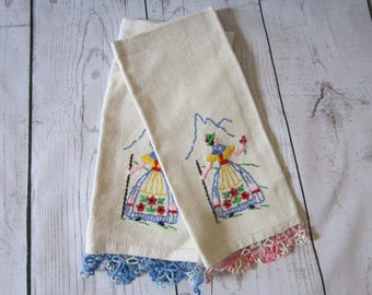 Swiss Alps Linen Tea Towels Vintage | Linen Hand Embroidered Napkin with Lace | Spring Mountain Flowers Embroidery | German Yodeling Woman