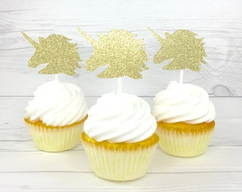 Unicorn Cupcake Toppers, Unicorn Head Cupcake Toppers, Unicorn Birthday Party Decor, Unicorn Baby Shower, Gold Unicorn Cupcake Toppers