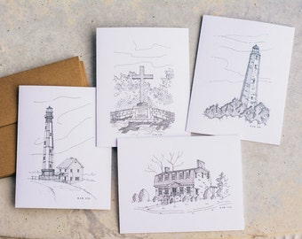 Virginia Beach Note Card Set | Blank Note Cards | Hand Drawn | Pen and Ink Drawing