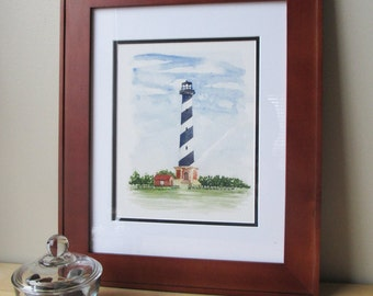 Cape Hatteras Lighthouse Print 8x10 | Fine Art Print | Hand Painted | Watercolor Print